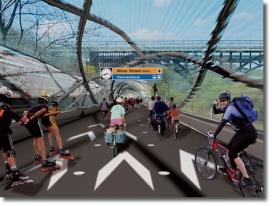 Движение по крытым велодорожкам Velo-City