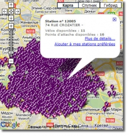 Карта станций проката велосипедов Velib в Париже
