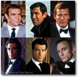 «Меня зовут Бонд. Джеймс Бонд»… Хорошо видно, как от десятилетия к десятилетию менялся облик и даже типаж «агента 007»