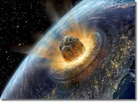 Планетезималь сталкивается с Землей