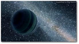 Черный мир одинокой планеты - газового гиганта